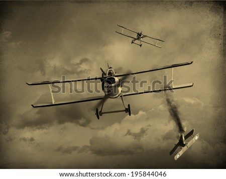 Vintage style image of a World War One fighter aircraft having a dogfight. One airplane was shot down. (Artist impression) - stock photo