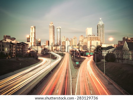 Vintage style image of Atlanta skyline, Georgia, USA