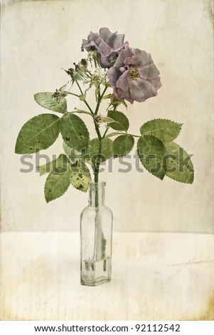 Vintage-style image of dead flowers; dying  blue roses in empty medicine bottle; against background of distressed paper; good copy space - stock photo