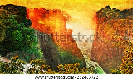 Vintage style image of the Victoria Falls at the border of Zimbabwe and Zambia - stock photo