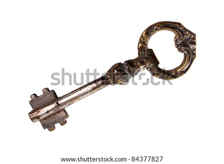 Vintage style key isolated over white background with clipping path - stock photo