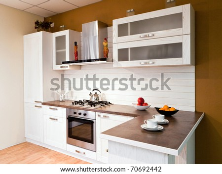 Vintage style kitchen counter with food preparation - stock photo