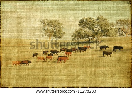 Vintage Style Landscape With Cows And Pasture - stock photo