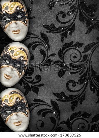 Vintage style masquerade background - stock photo