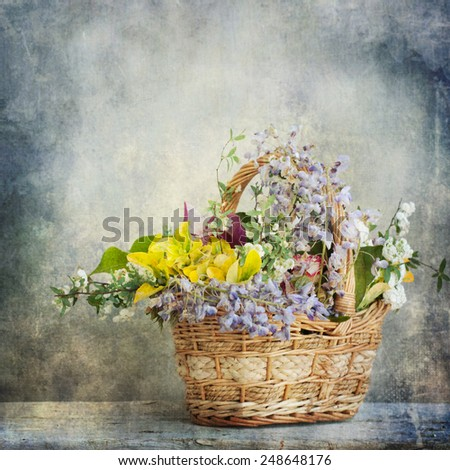 Vintage style, mixed flowers, spring flowers - stock photo