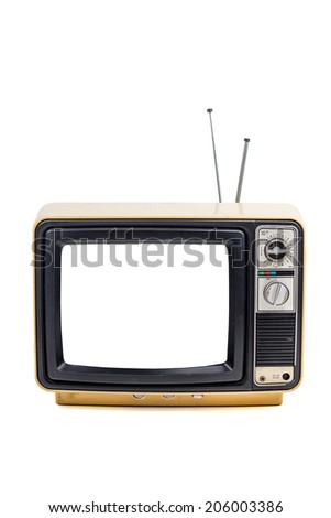 Vintage style old television isolated on white