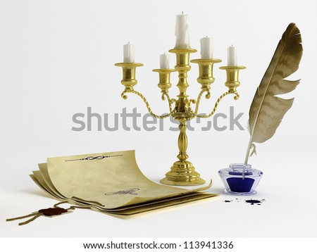 Vintage style paper, candelabrum, pen and ink - stock photo