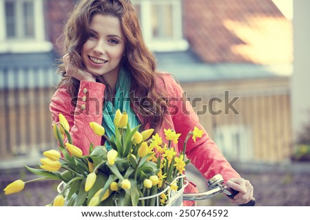 Vintage style photo of a spring women  - stock photo