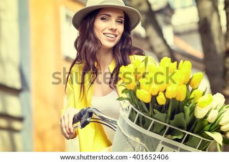 Vintage style photo of a spring women  - stock photo