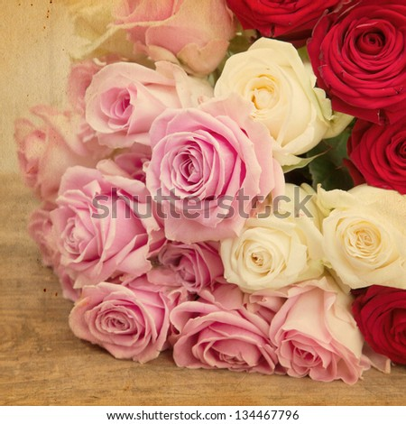 vintage style picture of a decorative bouquet of roses
