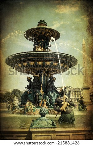 vintage style picture of a historical water fountain on the Place de la Concorde in Paris, France - stock photo