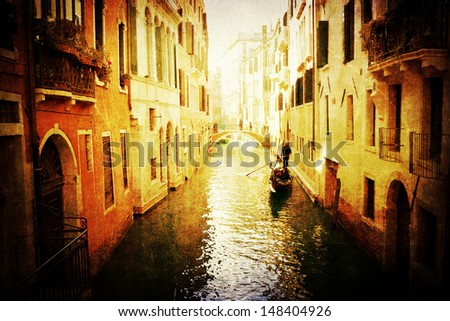vintage style picture of a typical canal in Venice, Italy - stock photo