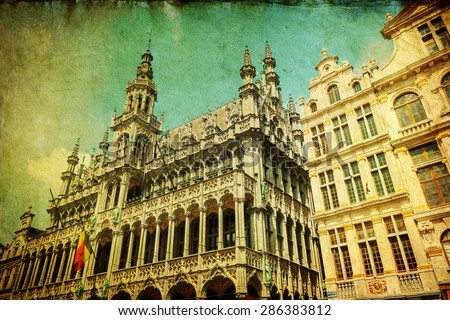 vintage style picture of the historical town hall in Brussels, Belgium - stock photo