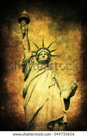vintage style picture of the Liberty Statue in New York City - stock photo
