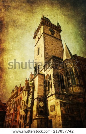 vintage style picture of the Old Town City Hall in the old town of Prague, Czechia - stock photo