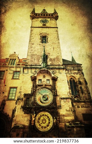 vintage style picture of the Old Town City Hall Tower with the famous astronomical clock in Prague, Czechia - stock photo