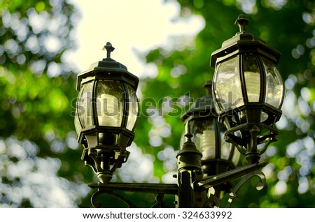 vintage style picture with old street lamp in the park at autumn