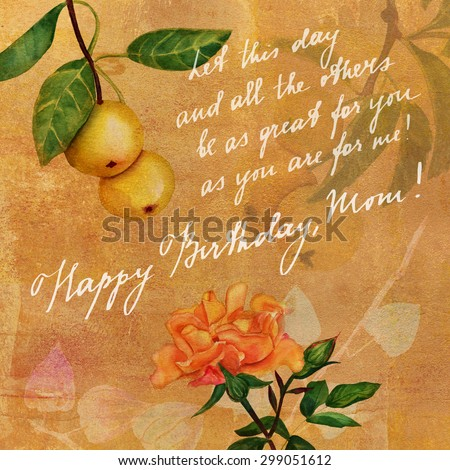 Vintage Style Postcard Design With Apples And A Rose Handwritten Text Happy Birthday