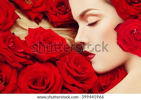 Vintage style profile portrait of young beautiful girl with closed eyes and red roses in her blond hair - stock photo