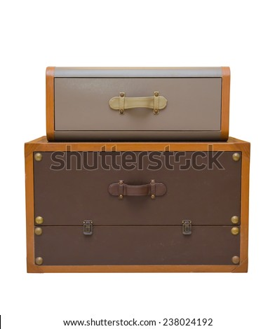 vintage style rubber chest box isolate on white background.