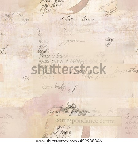 Vintage style seamless pattern with fragments of letters and old paper textures; visible text includes 'written correspondence' in French and 'ticket number' in Spanish; toned background - stock photo