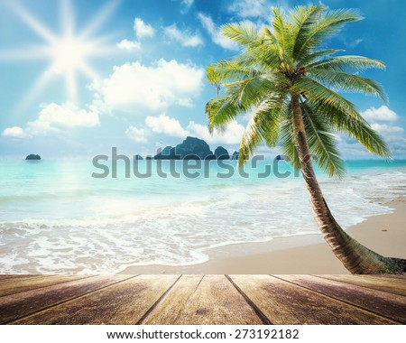 Vintage style. Wooden paving and beautiful beach with coconut palm tree. - stock photo