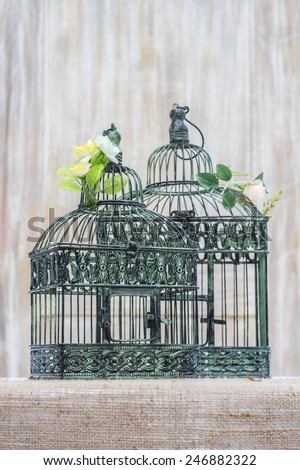 vintage styled bird cages  - stock photo
