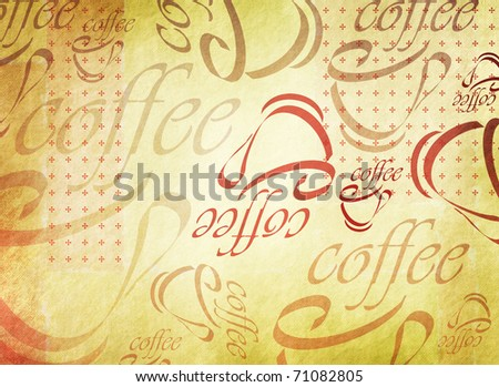 Vintage styled grunge coffee background with abstract illustrations of coffee cups and the word coffee - retro design - stock photo