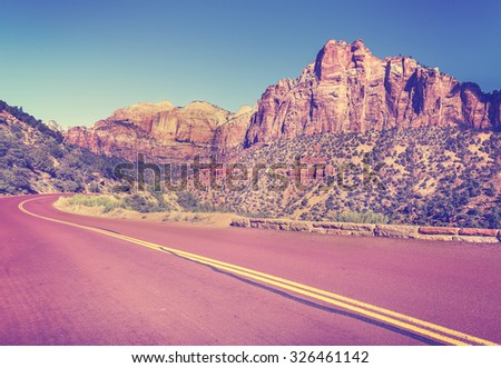 Vintage stylized country road in Zion National Park, Utah, USA. - stock photo
