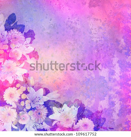 vintage stylized floral frame with patina texture - background for your text - stock photo