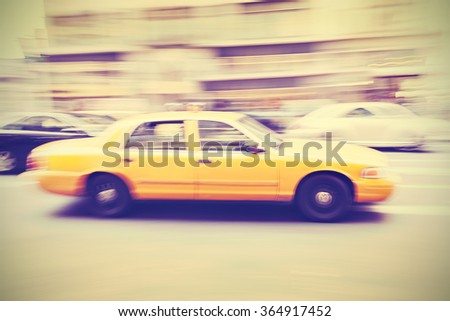 Vintage stylized motion blurred taxi, NYC. - stock photo