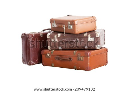 Vintage Suitcase isolated on white background (with clipping path) - stock photo