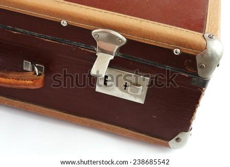 Vintage  suitcase on white background - stock photo