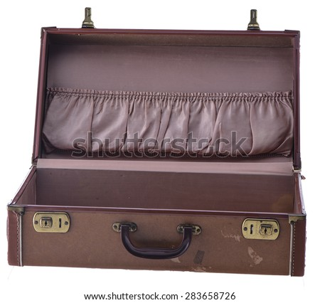 Vintage Suitcase Open Isolated  - stock photo