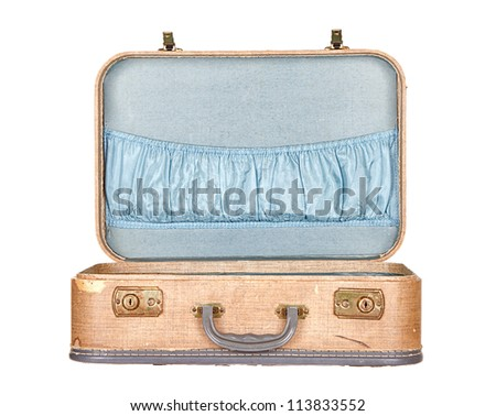 vintage suitcase or luggage open, isolated on white - stock photo