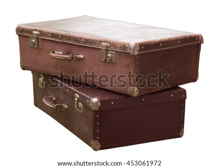 Vintage suitcases isolated. - stock photo