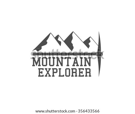 Vintage summer camp badge outdoors logo, emblem and label. Mountain Explorer concept, monochrome design. Best for travel sites, web app, adventure magazines. Easy to change color. illustration - stock photo