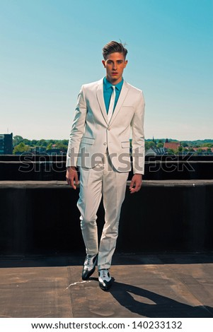 Retro Fifties Summer Fashion Man White Stock Photo 140232820 ...