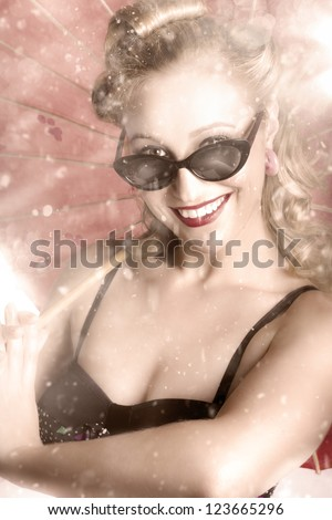 Vintage Summer Woman Fashion Portrait In The Art Of A Beautiful Girl Dancing In The Rain - stock photo