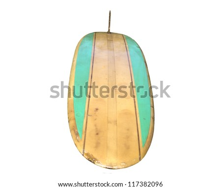 Vintage Surfboard from front isolated on white - stock photo