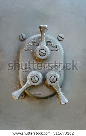 Vintage switch unit, part of old car dashboard - stock photo