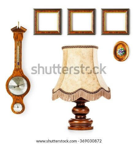 Vintage Table Lamp Barometer Small Frames Stock Photo (Royalty Free ...