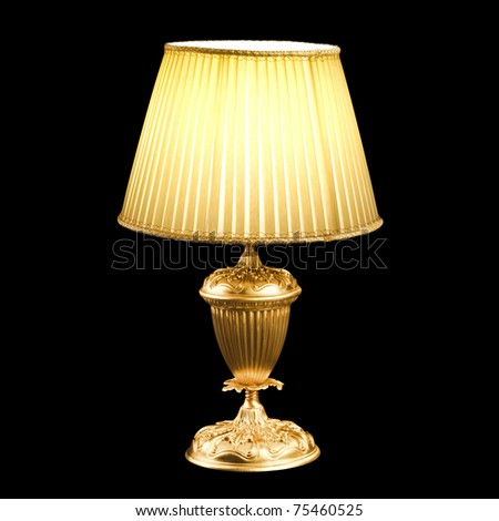 vintage table lamp isolated on black - stock photo