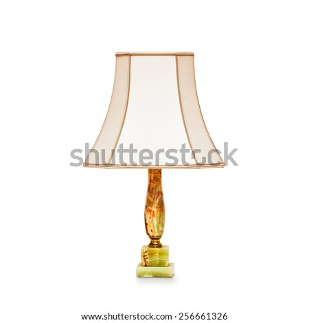 Vintage table lamp isolated on white background. Object with clipping path - stock photo