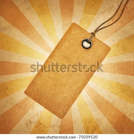 Vintage tag on grunge  background - stock photo