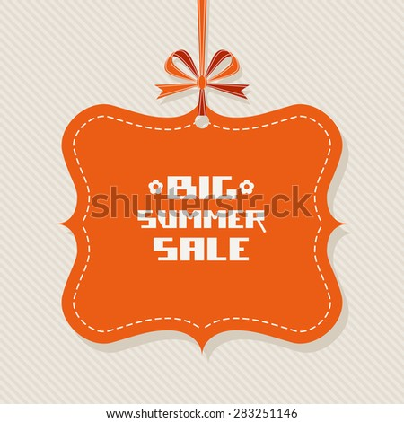 Vintage tag. Red background with ribbon and bow. Big summer sale. Decorative illustration for print, web - stock photo