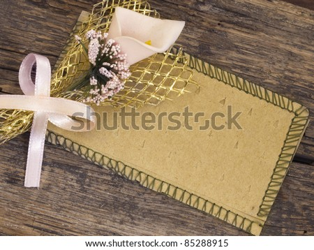 vintage tag with floral decoration - stock photo