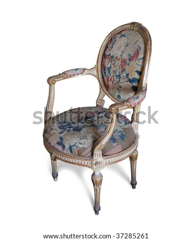 Vintage tapestry  chair. Isolated on white with clipping path - stock photo