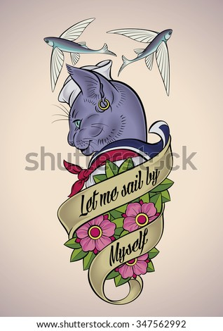 Vintage tattoo design of a cat-sailor belted with a banner and dog-roses. Raster image. - stock photo
