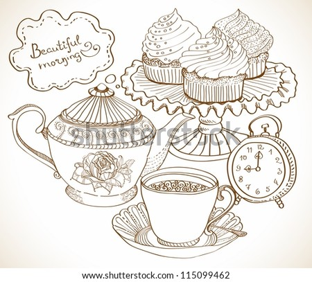 vintage tea background, hand drawn set for breakfast